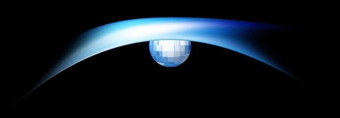 Sfera con cubi azzurri e blu.