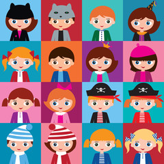 Schoolgirls and schoolboys with different hairstyles and hats.