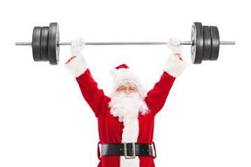 Smiling Santa Claus lifting a heavy barbell