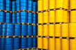 Leinwanddruck Bild - Blue and yellow oil drums