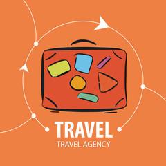 vector logo Orange suitcase for travel