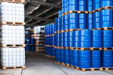 Blue drums and container