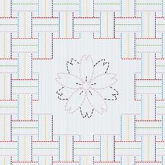 Traditional Japanese Embroidery Ornament with sakura flower. Sas