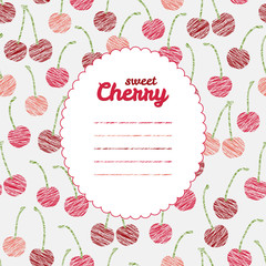 Text frame. Endless berry texture, repeating cherry background.