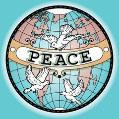 World Globe Peace Banner Map with Doves