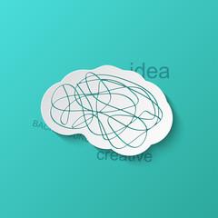 Vector modern brain icon on blue background