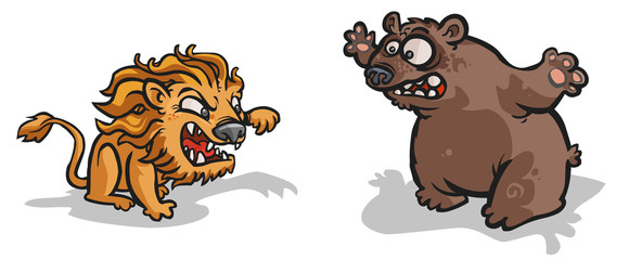 Lion and Bear cartoon characters.
