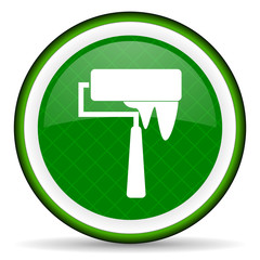brush green icon paint sign