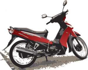 Illustration of small red motorcycle