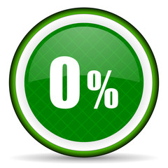 0 percent green icon sale sign