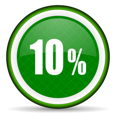 10 percent green icon sale sign