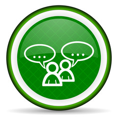 forum green icon chat symbol bubble sign