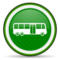 bus green icon public transport sign