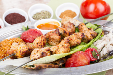 Turkish and Arabic Traditional Skewer Chicken Kebab
