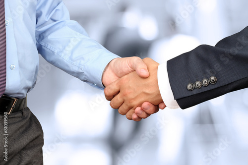 Close-up image of a firm handshake between two colleagues in off - 81039560