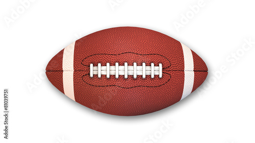 Leinwanddruck Bild American Football isolated on white background, top view