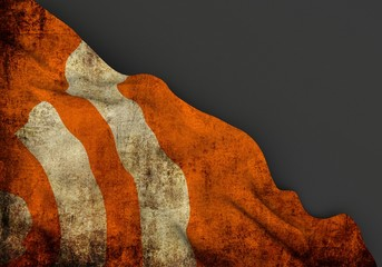 RSS symbol 3d corner flag overlaid with grunge texture