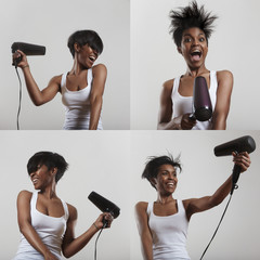 set of images with a girl who having fun with a hair dryer