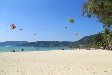 view of Patong Beach with parasailing