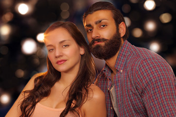 Beautiful couple, background light effects