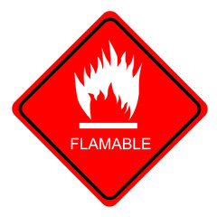 red shiny sign Flammable