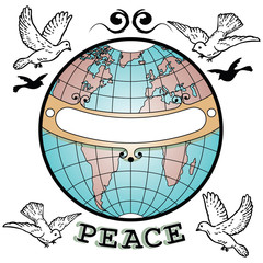 World Globe Peace Banner Doves and Flourishes