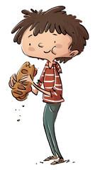 niño comiendo un bocadillo