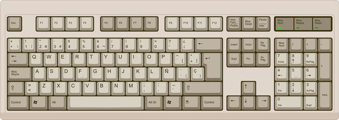 Teclado de computadora español de 105 teclas color gris cálido