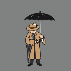Man hold umbrella and spare one
