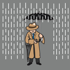 Man hold umbrella in rain
