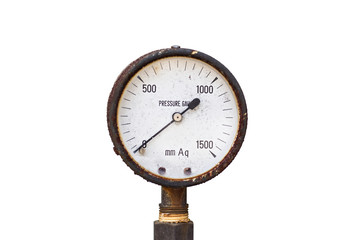 Old pressure gauge on white background