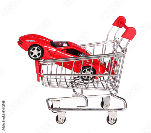 Fotobehang Assortiment car in shopping cart concept isolated on white background