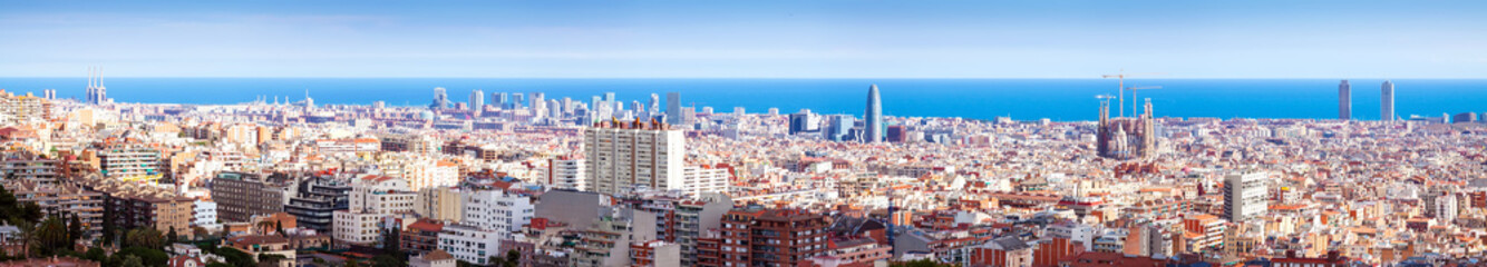 panorama of Barcelona and Mediterranean Sea in sunny day