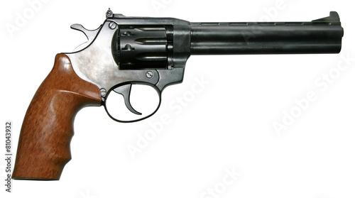 Foto op Plexiglas Retro isolated modern two-colored firearm revolver gun
