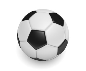 Soccer ball, or football, with standard black and white colors