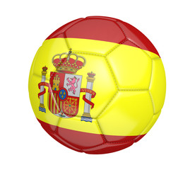 Soccer ball, or football, with the country flag of Spain