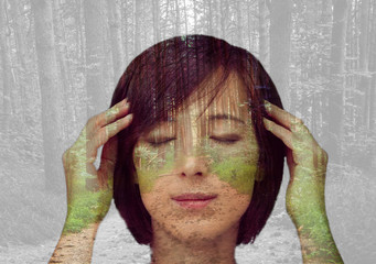 Double exposure portrait of girl with forest