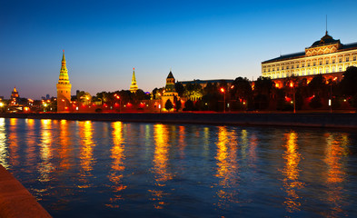 Moscow Kremlin  and   Moskva River in sunset