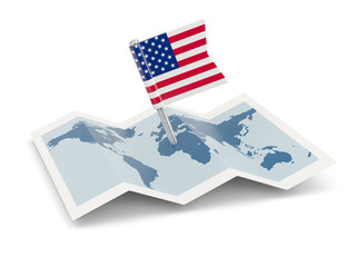 Map with flag of united states of america