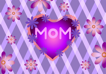Mothers Day. Flowers on a purple background.
