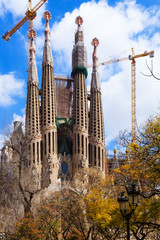 View of Sagrada Familia by   Gaudi. Barcelona
