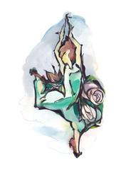 Female dancer on white background