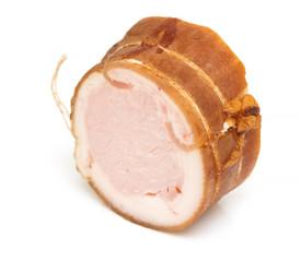 ham sausage on a white background