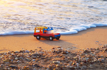 Toy on sea shore.