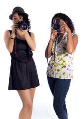 chicas tomando fotos
