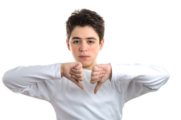 Dislike gesture by smooth-skinned Hispanic teen