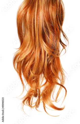 Poster, Tablou curl  Red Hair isolated on white background
