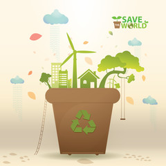 ecology Concept Save the world Vector