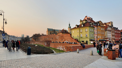 The old town at sunset. Warsaw