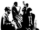 Fototapety Jazz poster with saxophone, double-bass, piano and trumpet